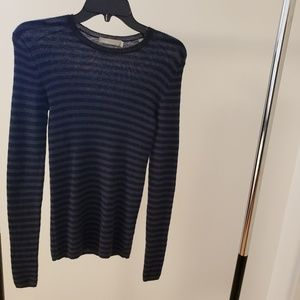 Vince Striped Ribbed Cashmere Crew Sweater SZ XS